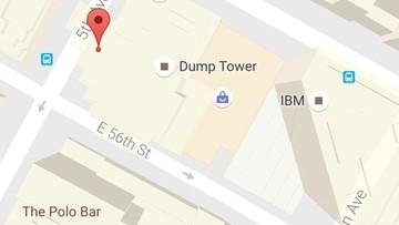 """Trump Tower jako """"Wieża Śmieci"""". Zmieniona nazwa w Google Maps"""
