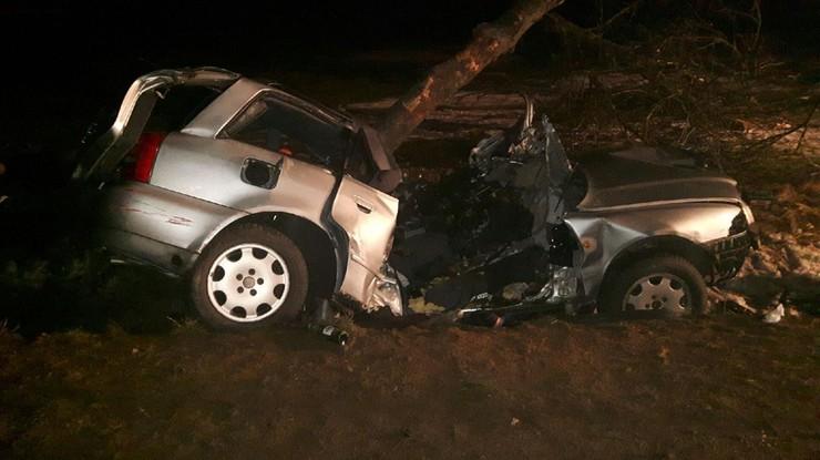 Audi wbiło się w drzewo. Dwaj mężczyźni zginęli na miejscu