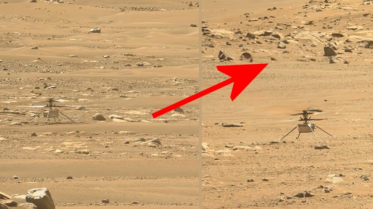 Zobacz diabełek pyłowy przetaczający się obok helikoptera na Marsie [WIDEO]
