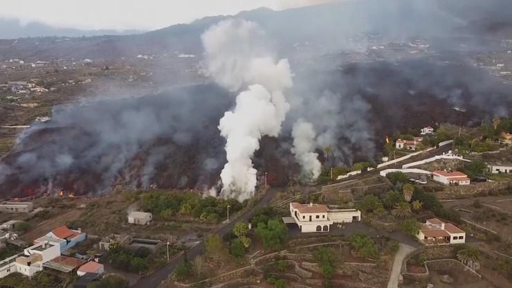 Hiszpania. Wyspa La Palma. Ludzie uciekają z domów przed lawą wulkaniczną