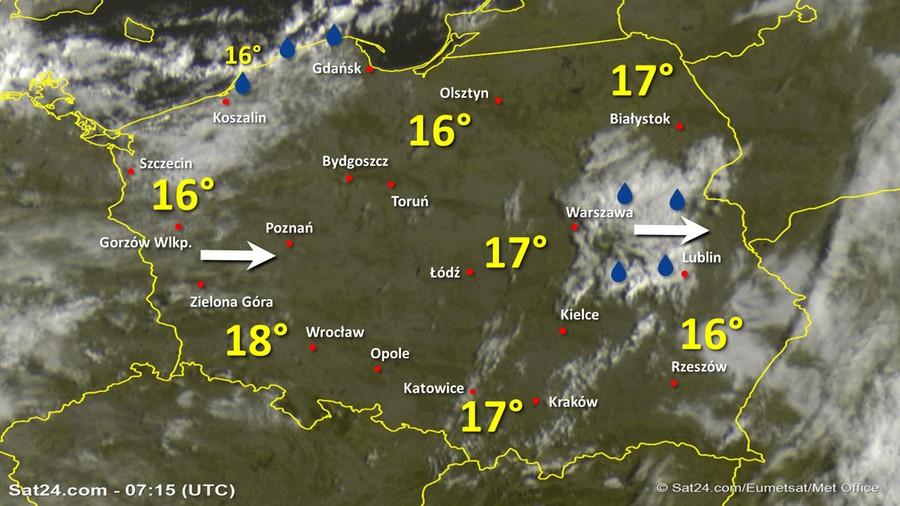 Zdjęcie satelitarne Polski w dniu 24 sierpnia 2020 o godzinie 9:15. Dane: Sat24.com / Eumetsat.