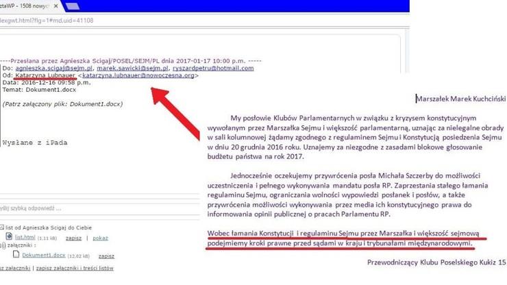 Kukiz opublikował treść pisma do marszałka Sejmu ws. działań opozycji