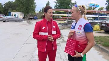 Minister Sportu na treningu z polską wioślarką