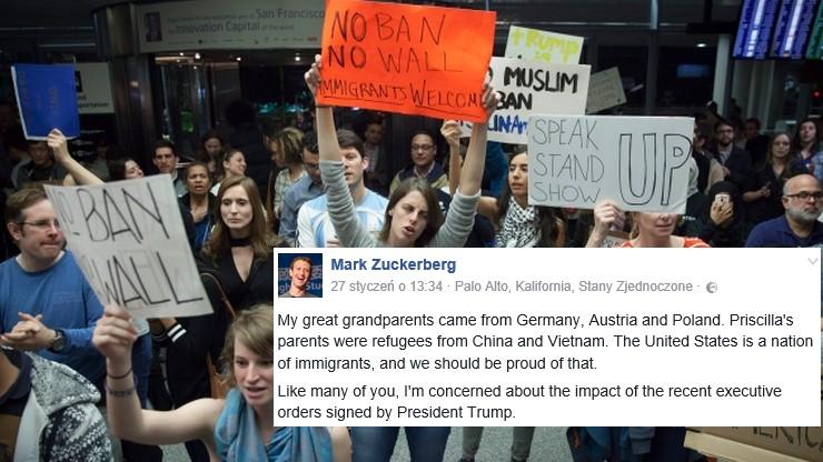 Protesty po dekrecie Trumpa o zamknięciu granic USA. Zareagował m.in. Facebook, Apple i Twitter