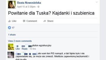 """""""Powitanie dla Tuska? Kajdanki i szubienica"""". Ministerstwo  środowiska """"odcina"""" się od poglądów swojej urzędniczki"""