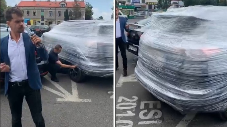 """Rolnicy okleili folią auto prezydenta Sieradza. """"Uciekł w cieniu wstydu i hańby"""""""