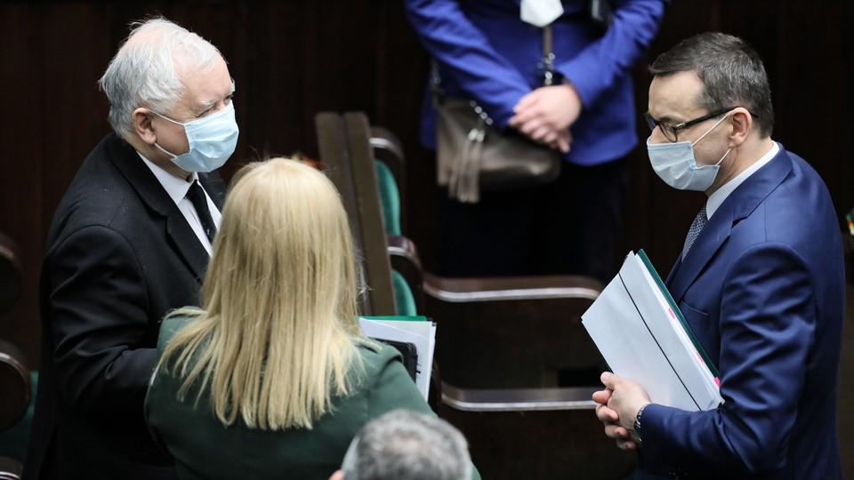 Jarosław Kaczyński i Jarosław Gowin w czasie posiedzenia Sejmu
