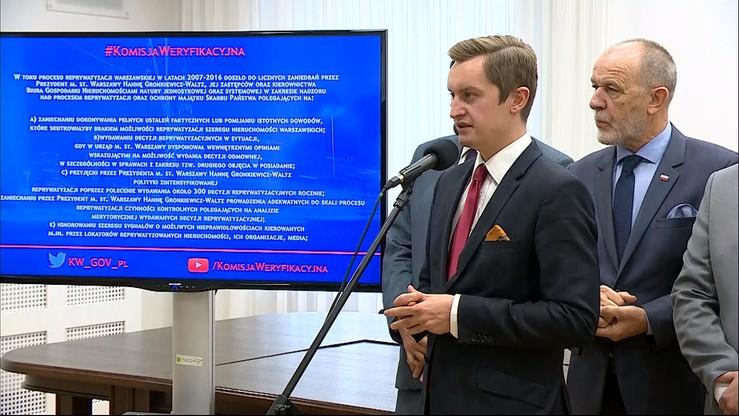 """""""Liczne zaniedbania Gronkiewicz-Waltz i jej zastępców"""". Raport prac komisji weryfikacyjnej"""