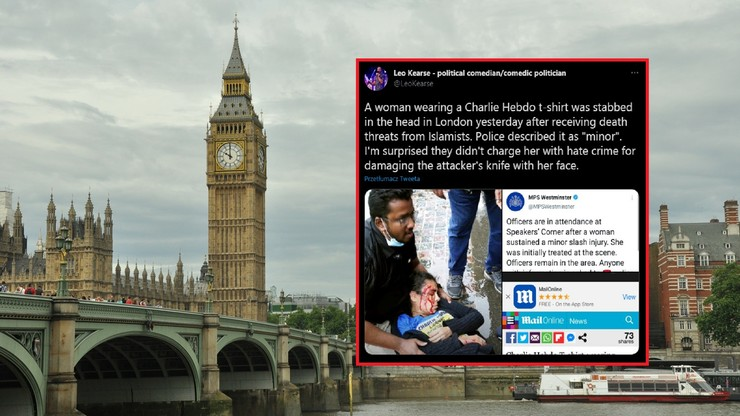 """Wielka Brytania. Kobieta w koszulce """"Charlie Hebdo"""" zaatakowana nożem w Hyde Parku"""