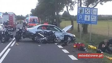 Auto wjechało w kolumnę motocyklistów. Jedna osoba nie żyje