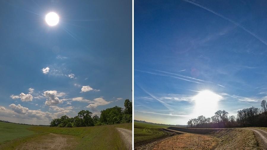 Maksymalna wysokość Słońca nad horyzontem w najkrótszy dzień w roku (po prawej) i w najdłuższy dzień (po lewej). Fot. TwojaPogoda.pl