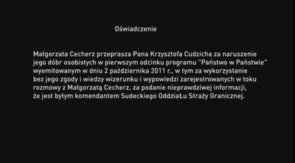 Oświadczenie Małgorzaty Cecherz
