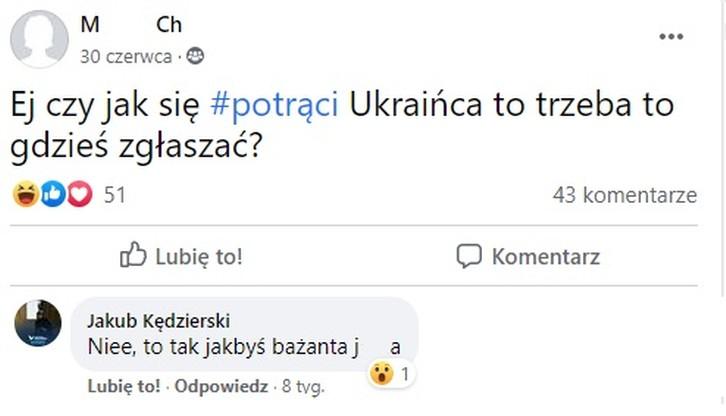 Komentarz Jakuba Kędzierskiego na Facbeooku. Zasłonięto imię i nazwisko autorki wpisu oraz wulgaryzm