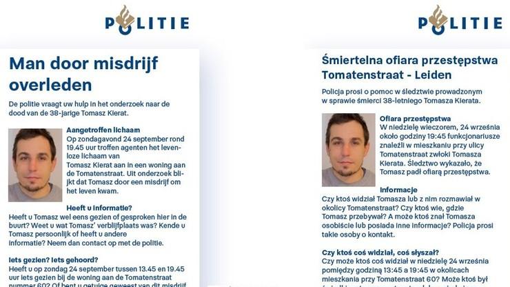 38-letni Polak zamordowany w Holandii. Policja prosi o pomoc w ulotkach w jęz. polskim
