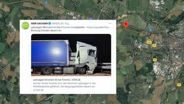 Betonowe filary przebiły kabinę ciężarówki. 62-letni Polak cudem przeżył