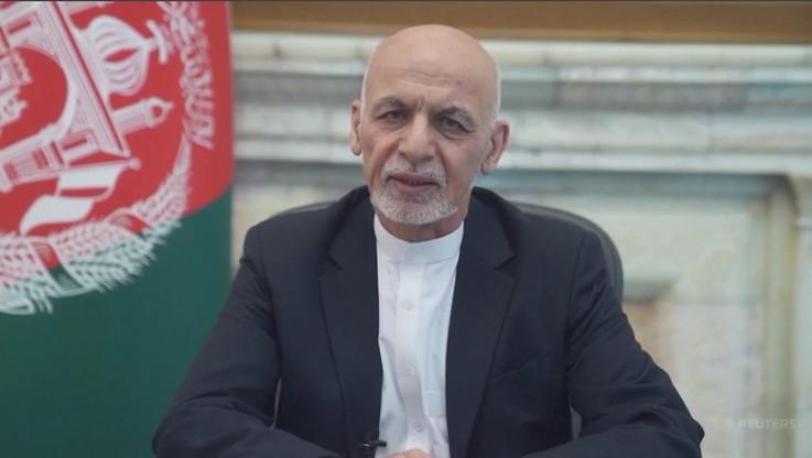 Prezydent Afganistanu Aszraf Ghani w trakcie wystąpienia