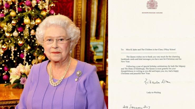 List brytyjskiej królowej do dzieci z gminy Rychwał. Monarchini dziękuje za kartki ze świątecznymi życzeniami
