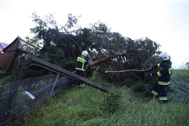 W Librantowej strażacy pomagali także w uprzątnięciu połamanych drzew
