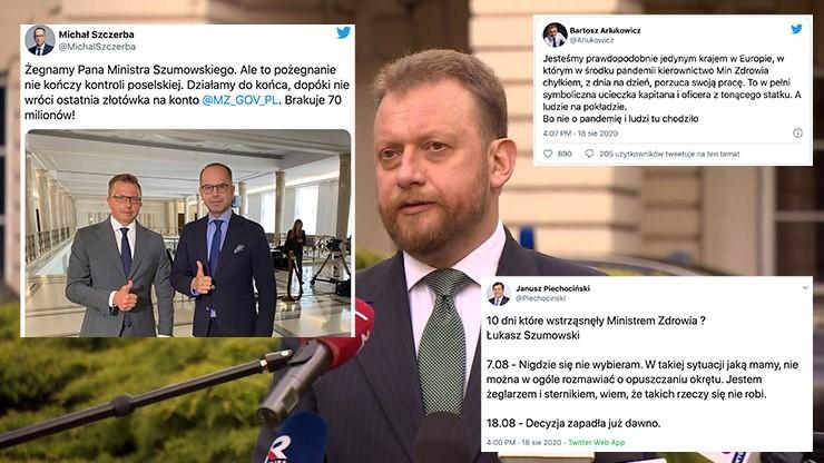 """W sieci burza po dymisji Szumowskiego. Opozycja o """"kolejnej aferze z maseczkami"""""""