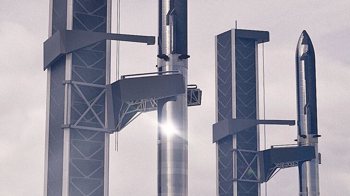 Dziwna konstrukacja w Starbase. To macki do łapania Boosterów od SpaceX?