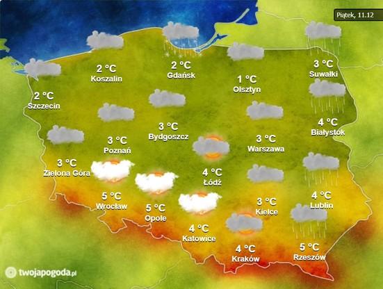 Pogoda na piątek, 11 grudnia