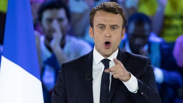 """""""Znacie przyjaciół pani Le Pen. To reżimy panów Kaczyńskiego i Putina"""". Macron na wiecu"""