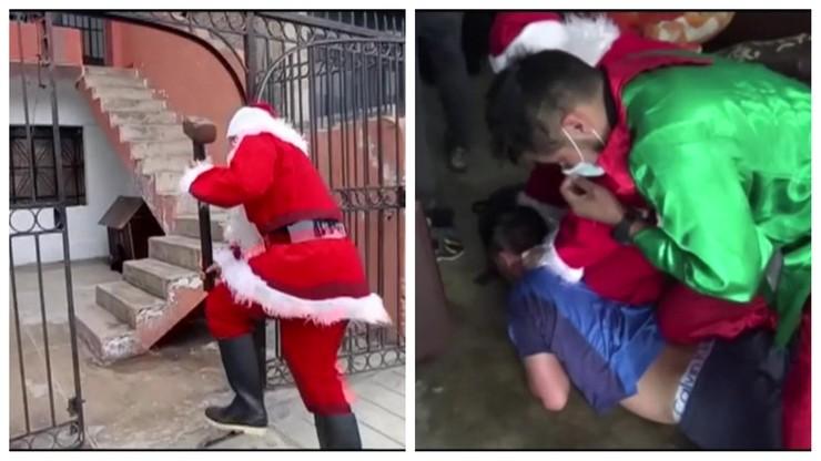 Święty Mikołaj i elf urządzili nalot na dilera narkotyków [WIDEO]