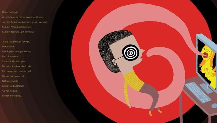 Ilustracka z książki o małym Alu, który odkrywa pornografię w komputerze starszego brata