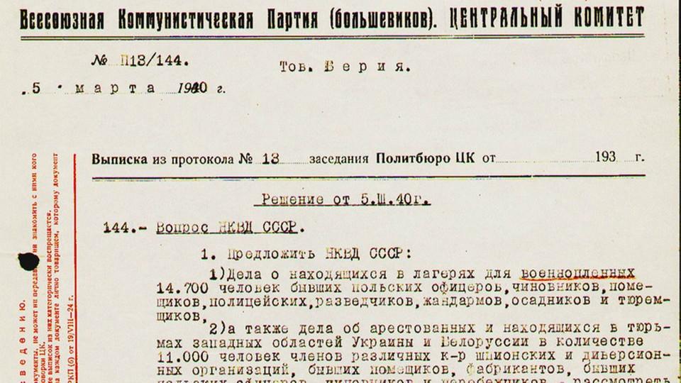 Wniosek Ławrentija Berii z akceptacją członków Politbiura, czyli podstawa decyzji katyńskiej z 5 marca 1940