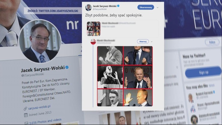 Saryusz-Wolski przeprosił za grafikę porównującą Tuska z Hitlerem
