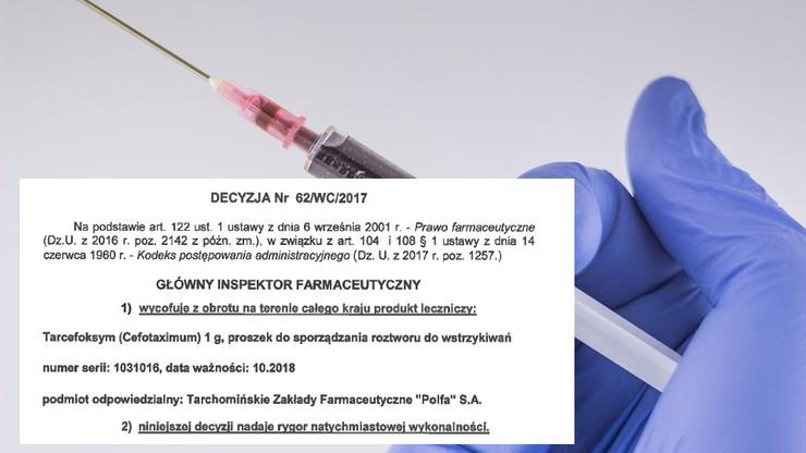 """Antybiotyk Tarcefoksym wycofany z obrotu. Ma """"widoczne zanieczyszczenia"""""""