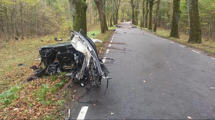 Śmiertelny wypadek na drodze Orzechowo-Międzylesie. Audi uderzyło w drzewa