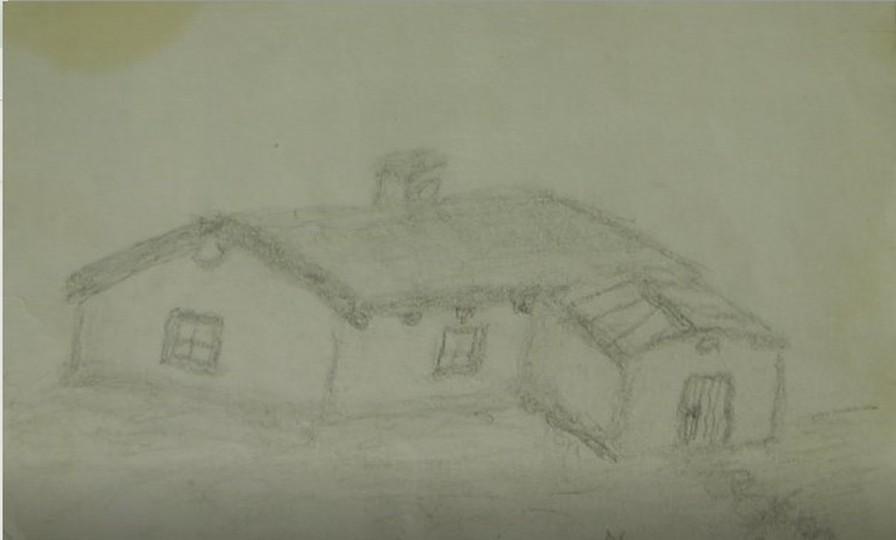 Ziemianka, w której mieszkała rodzina pani Malinowskiej - oryginalny rysunek autorstwa brata wykonany na Syberii