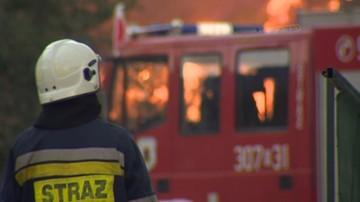 Pożar w dawnym budynku szkoły w Olkuszu (woj. małopolskie)