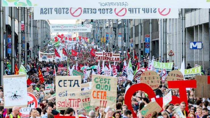 Demonstracje przeciwko TTIP i CETA w Brukseli