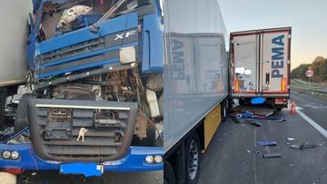 Śmiertelny wypadek na A2. Zderzyły się trzy ciężarówki