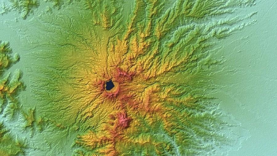 Topograficzna mapa okolic wulkanu Pinatubo na Filipinach. Fot. NASA.