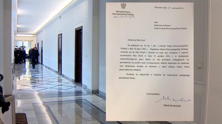 Posłowie PO i Nowoczesnej otrzymali pisma od Kuchcińskiego ws. 16 grudnia