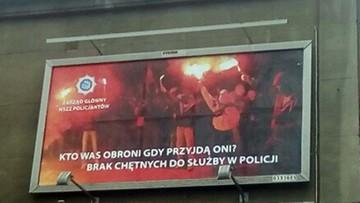 """Pseudokibice i napis: """"kto Was obroni, gdy przyjdą oni?"""". Policyjny billboard w Katowicach"""