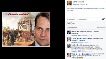 Tusk w mundurze SS-mana, Sikorski z szubienicą na Facebooku nowej konsul honorowej w USA