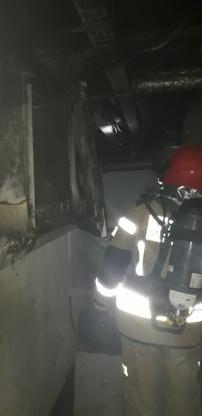 Zniszczenia po pożarze w hotelu