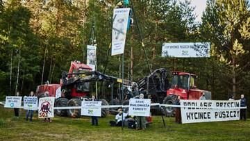 Policja siłą odciągała obrońców drzew w Puszczy Białowieskiej. Przykuli się do maszyn, aby zablokować wycinkę