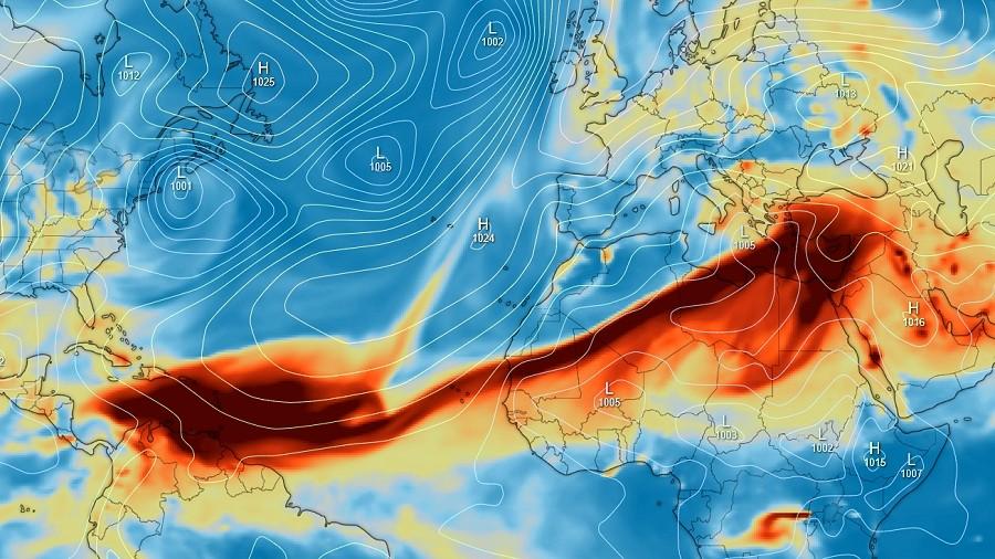 Koncentracja dwutlenku siarki prognozowana na sobotę, 17 kwietnia 2021. Fot. Windy / Copernicus.