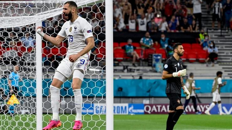 Euro 2020: Portugalia - Francja 1:2. Gol Karima Benzemy