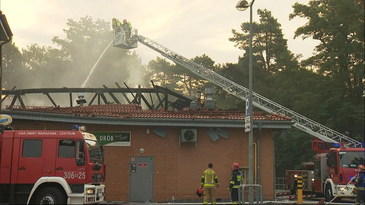 Pożar supermarketu w Warszawie. Dach zapadł się do środka