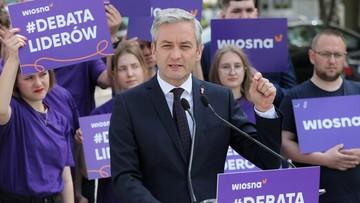 Biedroń proponuje Kaczyńskiemu i Schetynie debatę. PiS i PO odrzuca zaproszenie