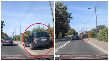 """Wyprzedził auta... jadąc po chodniku. """"Brak cierpliwości i zdrowego rozsądku"""" [WIDEO]"""