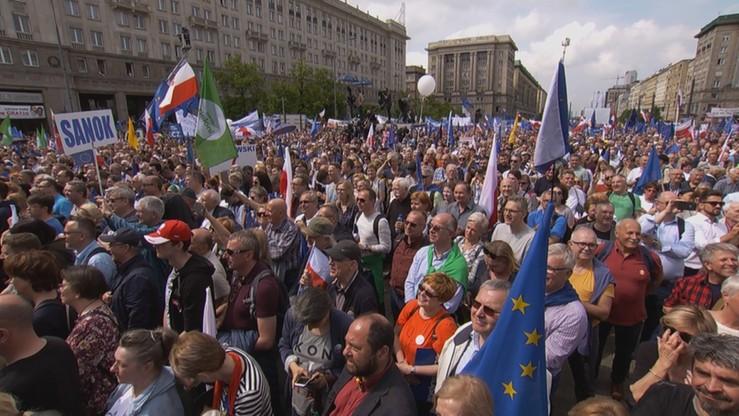 45 tys. czy 7 tys. Sprzeczne dane o liczbie uczestników marszu Koalicji Europejskiej