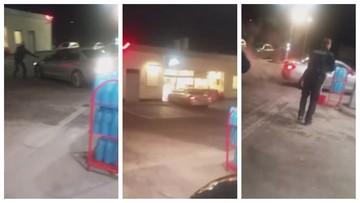 """""""Strzelaj w opony!"""". 37-latka zdemolowała stację paliw [WIDEO]"""