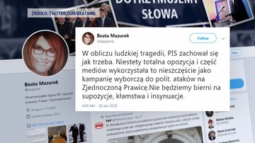 Mazurek: w obliczu ludzkiej tragedii PiS zachował się jak trzeba